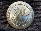 France, 20 Centimes Shop Token, VF, T1522